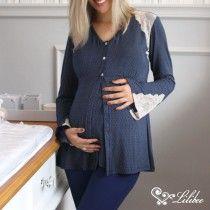 Pijama Maternidade Greta 3 Peças Azul Marinho