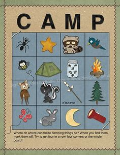 Love This Camping Bingo Card You Can Print It Out At The Site Or Make Your Own Up With Kids A 2 Part Craft Game