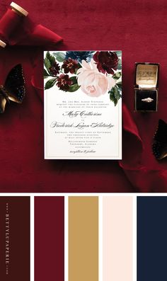 A burgundy and navy blue wedding color palette is dreamy in the best of ways for fall wedding color schemes! These fall wedding invitations are the perfect way to compliment your big day. Burgundy Colour Palette, Burgandy Color, Gold Color Palettes, Blue Color Schemes, Wedding Color Schemes, Navy And Burgundy Wedding, Burgundy Wedding Colors, Burgundy Wedding Invitations, Blue Wedding