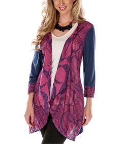 Add some warmth to any look with this cascading open cardigan. Boasting a hint of stretch and bold pattern, it's sure to grab compliments.