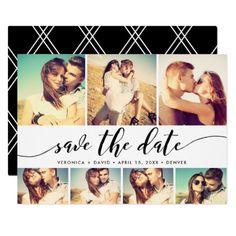 calligraphy save the date 7 photo grid collage card - Hochzeitshomepage Beispiele