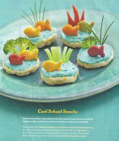 rice cracker, cream cheese, veggies, goldfish cracker