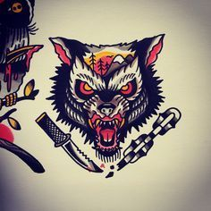 Image result for traditional tattoo wolf