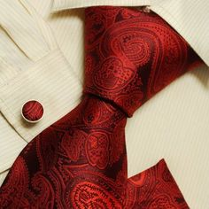 Red Paisleys men wearing ties discount silk neckties Cufflinks hanky set H5167