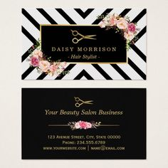 142 best salon business cards images on pinterest beauty salons gold scissors floral hair stylist beauty salon business card colourmoves