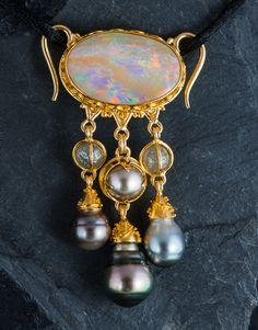 Opal, raw diamond and black pearl pendant