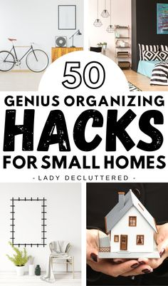 Whether your small home is temporary or permanent there are so many clever ways to find storage and space. Do not let the square footage of your home stop you from being your most creatively organized self! Take a look at these 50 genius organizing hacks for smaller homes, apartments, and studios! #ladydecluttered #smallhomeorganization #storageideas #storagesolutionsforsmallhomes #organizingtipsforthehome #apartmentorganizationideas