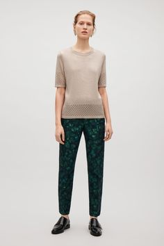 COS image 1 of Knitted pointelle top in Beige