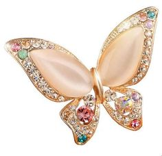 Brooch Pin Butterfly With Rhinestones Accent