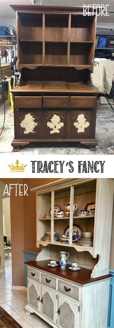 From Early American to Farmhouse White China Hutch Makeover By Tracey's Fancy | Painted Furniture Ideas | White Furniture |