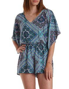 Scarf Print Kimono Sleeve Romper: Charlotte Russe #romper #print