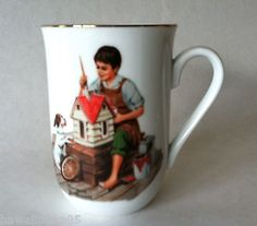 1982 Norman Rockwell Sisters Dollhouse Gold Rimmed Coffee Mug Tea Cup Gift Idea