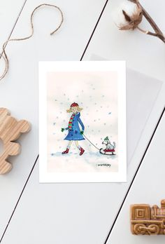 "Grußkarte ""Winterday"" - Postkarte Weihnachtsgrüße Weihnachtskarte Wintergruß Neujahrskarte Nostalgiekarte Nordic Style Hundepostkarte Illustration, Poster, Playing Cards, Drawing Hands, Xmas Cards, Postcards, Nostalgia, Handmade, Templates"