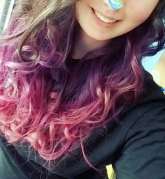 This is my purple-pink ombre hair... I'm in love with this 😍😍💜💕