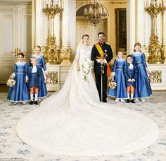 Regal: The Elie Saab dress has a 13ft train and featured three-quarter length sleeves and a silk tulle veil