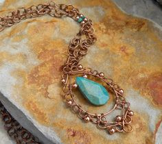 Turquoise  Filigree With Handcrafted Beaded Chain. $80.00, via Etsy.