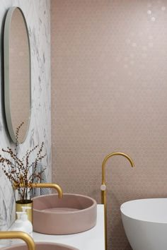 norsu home - style the norsu look. pink tiles , pink basin, brass tapware