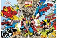 Framed Marvel Comics - Rays of Characters Wood Framed Poster Art Print Iron Man Thor Hulk Spiderman Captain America Wolverine Silver Surfer Poster Marvel, Superhero Poster, Comic Poster, Poster Poster, Ms Marvel, Marvel Dc Comics, Marvel Heroes, Marvel Art, Marvel Comic Character