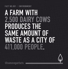 15 Facts That Will Make You Consider Going Vegan Visualised facts about the meat, dairy industries & vegan life, all laid out in black and white. Fact 001: a farm with 2,500 dairy cows produces the same amount of waste as a city of 411,000 people. Fact 002 ... #vegan