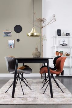 This elegant dining table Glimps is nicely sized for smaller rooms cm) but can be transformed into a decent-sized eating area in a jiffy! Upholstered Dining Chairs, Dining Room Furniture, Esstisch Design, Small Condo, Table Extensible, Suspension Design, Dining Table Design, Black Table, Elegant Dining
