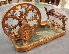 Gilt Bronze Tabletop Spinning Wheel image 2