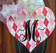 Monogrammed Argyle Heart Valentine Door Hanger by SparkledWhimsy, $42.00
