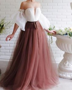 Casual Design Bateau Neck Unique Party Dresses Boho Style Puffy Sleeve Tulle Evening Gowns Ruffle A Line Formal Evening Dresses with Sweep Train Elegant Dresses, Pretty Dresses, Formal Dresses, Wedding Dresses, Formal Prom, A Line Dresses, Vintage Prom Dresses, Vintage Long Dress, Unique Prom Dresses
