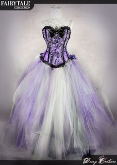 CHESHIRE CAT wedding dress, wedding gown, victorian corset and tulle skirt with crinoline and bustle back
