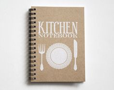 Recipe book, kitchen book, recipe organizer, kraft paper notebook, pocket notebook, blank book, kitchen accessories, kitchen print white