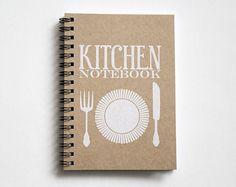 Recipe book, kitchen book, recipe organizer, kraft paper notebook, pocket notebook, blank book, kitchen accessories, kitchen print white
