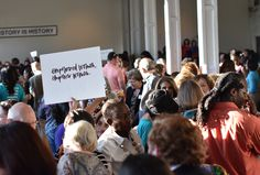 Supporters of #womensrights overflowed the room #AnitaHillParty