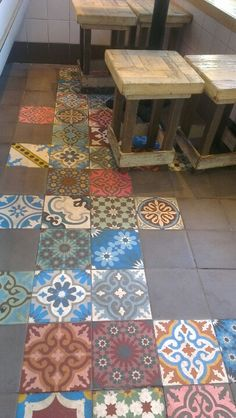 Lovely tiles in a cute cafe, Amsterdam.