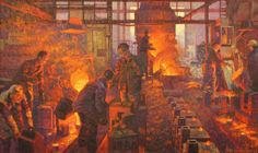"""Hugo Grenville (British) Pouring Iron at Thurton Foundry, Oil on Canvas, 36"""" x 60"""", Millennium Commission for The Ironmongers' Company, 1999"""