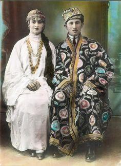 jewish bride and groom, 1930. jerusalem.