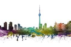 Colorful digital drawing of Toronto Ontario cityscape. Toronto Skyline, Canvas Prints, Framed Prints, Beauty Art, Wood Print, Ontario, Hand Painted, Age, Colorful