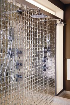 Copper Glass The Sideview Glass mosaic tile collection features richly faceted metallics in a modern take on art deco grandeur. Browse our Copper glass color. Bad Inspiration, Bathroom Inspiration, Mirror Wall Tiles, Mirror Decor Living Room, Unique Tile, Copper Glass, Small Toilet, Dream Home Design, Glass Mosaic Tiles
