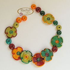 Multicolor Lampwork Glass Beads,  Set of Colorful Handmade Flowers Disc Beads and Spacers (20 )