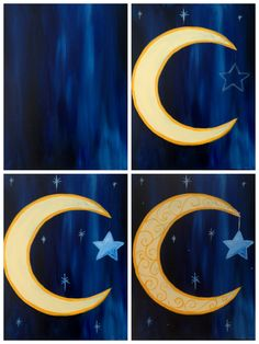 """Evolution of """"Crescent with Scrolls"""" painted @ Painting with a Twist Miami"""