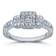 Three Stone Princesscut Diamond Engagement Ring 14 Carat ctw in 14k White Gold * Check this awesome product by going to the link at the image.(This is an Amazon affiliate link)