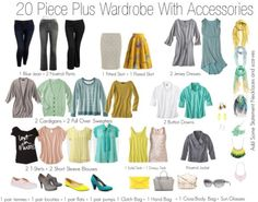 20 piece basic plus size spring wardrobe. When mixed and matched, these pieces make up over a hundred different outfits, You could do this with any colors that you like as long as they coordinate.