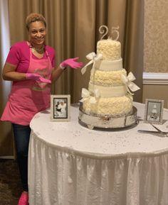 Setting up this 5 tier wedding cake 5 Tier Wedding Cakes, Desserts, Food, Kitchens, Tailgate Desserts, Deserts, Essen, Postres, Meals