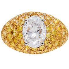 Van Cleef & Arpels ~ 2.04 Carat Fancy Yellow Diamonds Gold Platinum Ring, 1980s