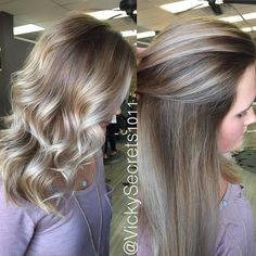 @elizabethtgrace came in for a retouch on her color melt so I darkened her base with a beige gold, full head balayage, and toned at the bowl with a silver toner. I'm loving the blend. Perfect straight or curled #vickysecrets1011 #vickysecrets #love...