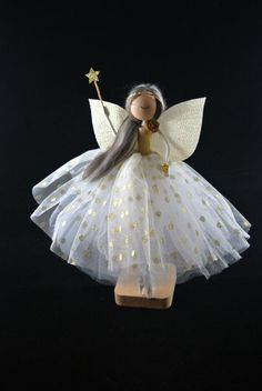 Christmas Tree Toppers, Christmas Ornaments, Fairy Tree, Glitter Stars, Gold Dots, Fairy Dolls, Fairies, Brown And Grey, Daisy