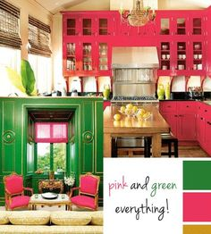 pink and green, color palet for master bath