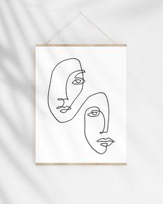 Continuous Line Art Print, One Line Drawing Faces Illustration, Modern Minimalist Sketch Abst. - Continuous Line Art Print, One Line Drawing Faces Illustration, Modern Minimalist Sketch Abstract W - Single Line Drawing, Continuous Line Drawing, Abstract Face Art, Art Drawings, Drawing Faces, Face Illustration, Illustration Inspiration, Digital Illustration, Art En Ligne