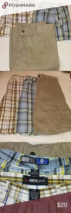 Bundle Boys Shorts Three pairs of short,all in good condition.The brown plaid one is a size:10;The other two cargo shorts area size:12 NBN gear;South Pole;Wrangler Bottoms Shorts