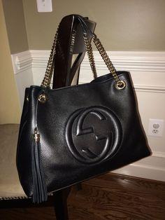 NWT Authentic Gucci Soho Leather Shoulder Bag BLACK  #Gucci #ShoulderBag