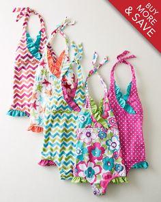 Ruffle-Trimmed Halter One-Piece Swimsuit - Baby Girls & Girls