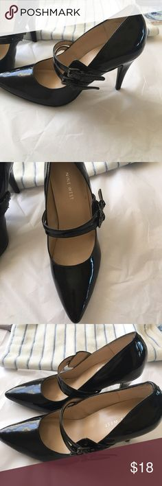 """Nine with strap heels Nine West beautiful patent leather strap heels 31/2 """" heels double straps on top worn once Shoes Heels"""